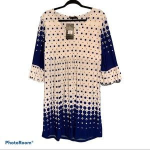 Reborn Polka Dot Shift Dress Womens XL Polyester